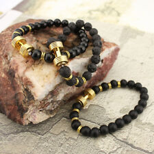 Fashion Lava Stone Energy Gold Dumbbell Beaded Charm Bracelet Jewelry Women Men