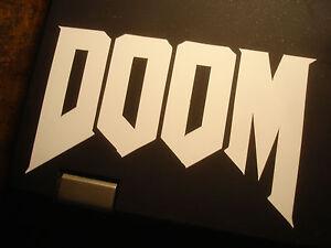 Doom ID Software Contour Cut Vinyl Sticker - White - FPS Fan Art