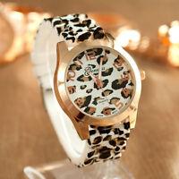 Geneva Women Silicone Watch Men Unisex Leopard Jelly Gel Quartz Wrist Watches