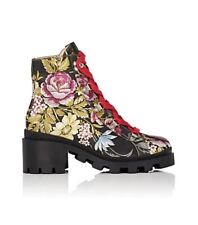 Gucci Boots Floral Lace Up Combat Jacquard Ankle Boots  39 US 9