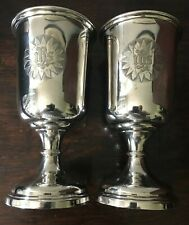 More details for  very large pair silver plate gilt church altar ihs ciborium chalice goblet wine