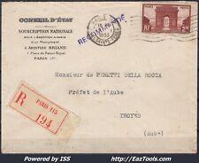 FRANCE N° 258 SEUL SUR LETTRE RECOMMANDEE POUR TROYES DE PARIS DU 19/01/1933