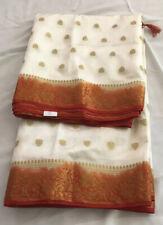 Indian Party Wear Light Weight Banarasi Silk Blend Jari Work White Red Saree