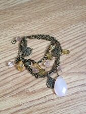 Chain Heart Pink Bracelet Accessorize Pendant Bead Gold Metal