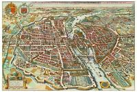 Map Antique Merian 1615 Paris City Plan Old Large Replica Canvas Art Print