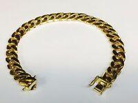 "10k Solid Gold Handmade Miami Cuban Curb Link mens Bracelet 10"" 60 grams 10.5MM"