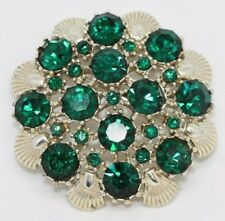 Vtg Signed CORO Gold Tone Emerald Green Rhinestone Flower Shell Pin Brooch BR354