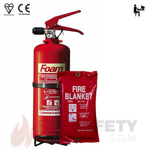 NEW 2 LTR FOAM FIRE EXTINGUISHER WITH 1M x 1M FIRE BLANKET