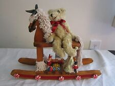 "Christmas Decor Wooden Rocking Horse, Teddy Bear & Toys~Large 12"" H  x 15 "" W"