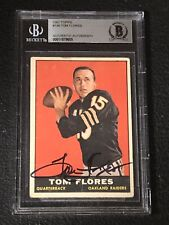 TOM FLORES 1961 TOPPS ROOKIE SIGNED AUTOGRAPHED CARD RAIDERS BECKETT BAS SLABBED