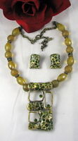 Floral Design Beaded Necklace & Earrings Set CAT RESCUE