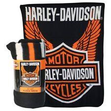Harley Davidson 50 x 60 Fleece Throw Blanket - Shield with Wings