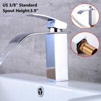 1PC Bathroom Sink Faucet Vanity Basin Mixer Tap  Nickel Waterfall With Drain