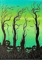 ACEO Original Miniature Painting Whimsical Trees Pumpkins Halloween Art HYMES