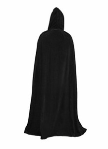 Unisex Halloween Cosplay Cape Long Hooded Cloak Wizard Witch Medieval Cape Black