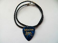 "5SOS ASHTON IRWIN Guitar Picks signature gold stamped 20"" leather NECKLACE blue"