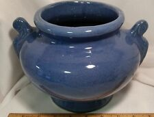 Vintage Pottery Art Crock Blue Urn Vase Planter