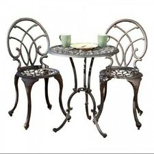 Aluminum Bronze Bistro Set Outdoor Patio Garden Table Chairs Dining Furniture
