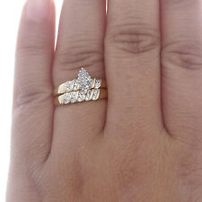 14K Yellow Gold Over 1.50 CT Diamond Engagement Wedding Band Ring Bridal Set