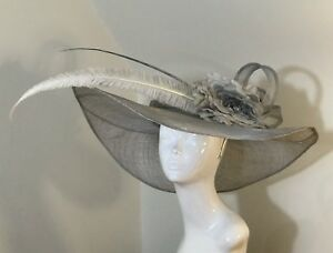 Exclusive Grey Designer Millinery by Hat Couture Wedding Bridal Racing Ascot Hat