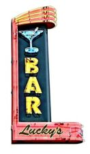 "18"" Lucky's Martini Bar Live lounge music Bar Neon Style in Steel USA Metal Sign"