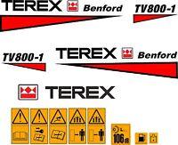 Terex Benford tv800 Autocollants Stickers GALET