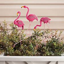 Set of 3 Whimsical Posing Pink Flamingo Planter Garden Stakes