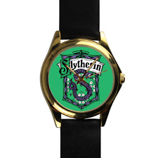 Slytherin House Harry Potter Wizard School of Magic Gold Leather Strap Watch