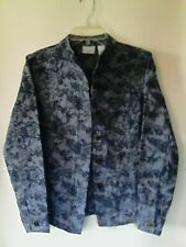Kim Rogers Petite Small Cropped Blue Flower Embroidered Stretch 4 Pocket Jacket