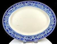 "PALISSY ENGLAND ATHENA BLUE TRANSFER WARE 14"" OVAL SERVING PLATTER 1946-1989"