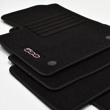 Velours Fußmatten 4-teilig Logo für Fiat 500 + 500 Cabrio ab Bj.2013 - sw