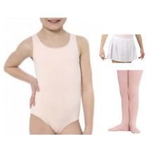 Danskin 2903 Girls' Small (4-6) Pink Tank Leotard Footed Tights and White Skirt