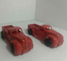 Vintage Ideal Plastic Pick Up Trucks lot of 2 Made In The Usa