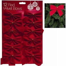 Pack of 12 x 9cm Velvet Christmas Bows With Gold Ties Festive Tree Decorations