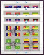 Gestempelte Briefmarken als Satz von weltweiten mit Flaggen-und Wappen-Motiv