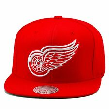 Mitchell & Ness Detroit Red Wings Snapback Hat Cap All Red/White