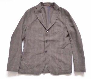 """Men's Vintage PAOLONI Brown Check Virgin Wool Mix Blazer Jacket L Pit To Pit 23"""""""
