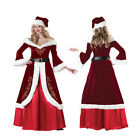New Sexy Deluxe Mrs Claus Santa Claus Christmas Long Dress Costume Xmas Outfit