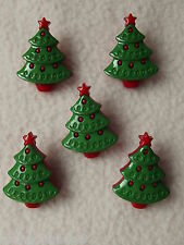 5 x CHRISTMAS TREE SHAPED BUTTONS ~ size approx 25mm x 19mm CHILDREN/CRAFT