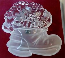 Vintage Mikasa Santa'S Goodies Glass Boot Stocking Bon Bon Server Original Box.