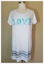 Pajamas Plus Size 2X Sleep Shirt Nightgown Womens Summer Cotton Lounge White NWT
