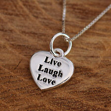 925 Argent Sterling Amour Cœur et Chaude Mots Pendant Chain Necklace w