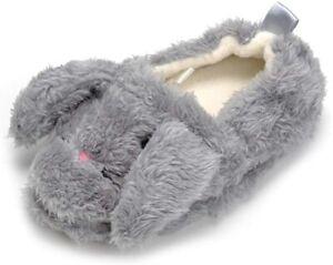 Csfry Baby Girl's Premium Soft Plush Slippers Cartoon, Grey,  Size Toddler 7.0