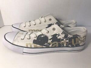 NEW! MECCA Sean L Shoes Men's Size US 12 Canvas White / Black / Gold LM1126