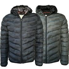 Mens Camouflage Jacket Padded Full Zip Camo Casual Winter Coat New