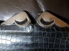 AUTHENTIC ART DECO 1935 BLACK CROCODILE SKIN CLUTCH BAG STERLING MOUNTS GTH132-5