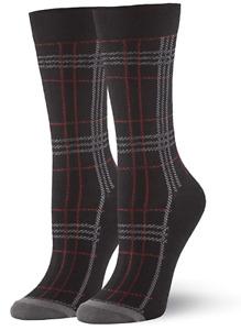 HUE Womens Plaid Crew Socks Black 1 Pair - NWT