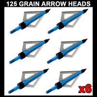 6PC Aluminum 125 Grain Arrow Heads Broadhead BOLTS Crossbow Hunting Archery NEW