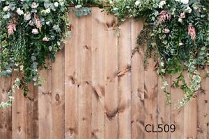 Rustic Wood Board Leaves Flowers 7X5FT Vinyl Photo Background Studio Backdrop LB