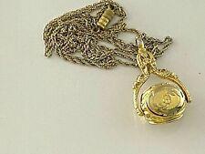 Unique Vintage Photo Locket Pendant Necklace Holds 4 Photos & Rotates (Z294)